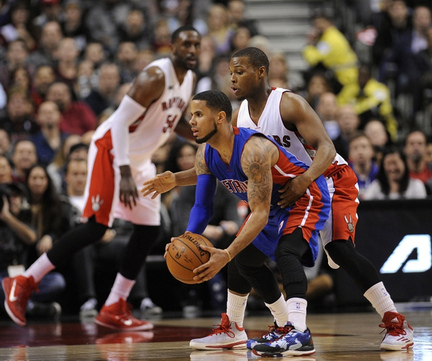 Jan 25, 2015; Toronto, Ontario, CAN; Detroit Pistons guard ...
