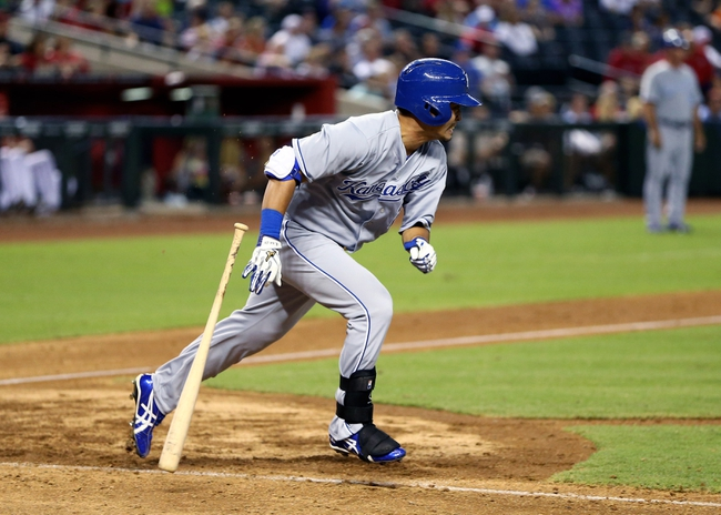 Aug 6, 2014; Phoenix, AZ, USA; Kansas City Royals outfielder Nori Aoki against the