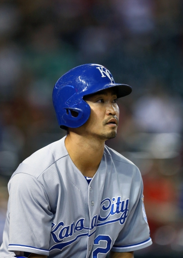 Aug 6, 2014; Phoenix, AZ, USA; Kansas City Royals outfielder Nori Aoki against the Arizona Diamondbacks at Chase Field. Mandatory Credit: Mark J. Rebilas-USA TODAY Sports