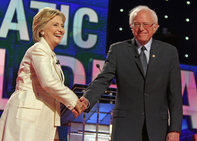 Apr 14, 2016; New York, NY, USA; Democratic presidential hopeful Hillary Clinton (left) and Democratic presidential hopeful Bernie Sanders during the Democratic presidential candidate debate at Brooklyn Navy Yard. Mandatory Credit: Carucha L. Meuse/The Journal News-USA TODAY NETWORK