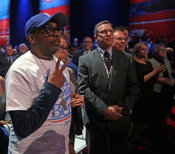 Apr 14, 2016; New York, NY, USA; Spike Lee attends the Democratic presidential candidate debate at Brooklyn Navy Yard. Mandatory Credit: Carucha L. Meuse/The Journal News-USA TODAY NETWORK