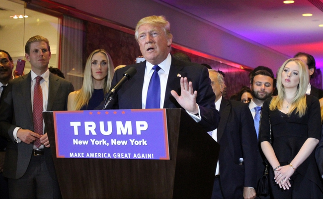 Apr 19, 2016; New York, NY, USA; Republican presidential hopeful Donald Trump speaks to supporters after the New York primary at Trump Tower. Mandatory Credit: Carucha L. Meuse/The Journal News via USA TODAY NETWORK