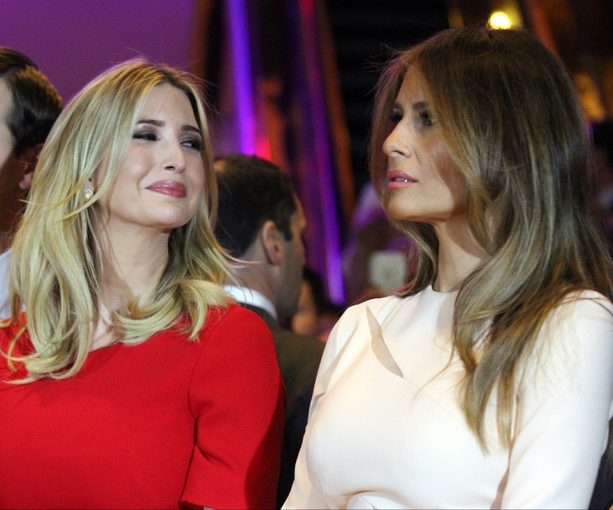 Apr 19, 2016; New York, NY, USA; Republican presidential hopeful Donald Trump (not pictured) speaks as his daughter Ivanka Trump (left) and wife Melania Trump listen after the New York primary at Trump Tower. Mandatory Credit: Carucha L. Meuse/The Journal News via USA TODAY NETWORK