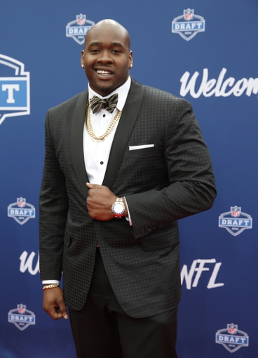 Apr 28, 2016; Chicago, IL, USA; Laremy Tunsil (Mississippi) on the red carpet before the 2016 NFL Draft at Auditorium Theatre. Mandatory Credit: Kamil Krzaczynski-USA TODAY Sports