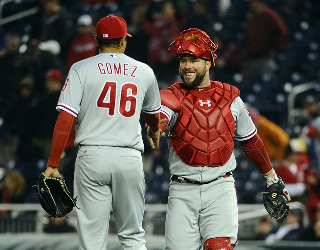 Apr 28, 2016; Washington, DC, USA; Philadelphia Phillies relief pitcher Jeanmar Gomez (46) is congratulated by catcher Cameron Rupp (29) after earning a save against the Washington Nationals at Nationals Park. Mandatory Credit: Brad Mills-USA TODAY Sports