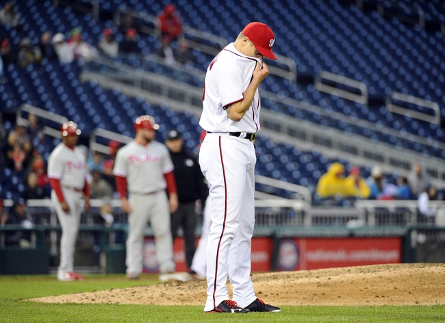 Apr 28, 2016; Washington, DC, USA; Washington Nationals relief pitcher Jonathan Papelbon (58) reacts after giving up a run against the Philadelphia Phillies at Nationals Park. Mandatory Credit: Brad Mills-USA TODAY Sports