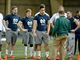 Mar 26, 2013; South Bend, IN, USA; Notre Dame Fighting Irish former players Jordan Cowart , Ben Turk , Manti Te'o and Robby Toma listen to instructions during Notre Dame pro day at the Loftus Center. Mandatory Credit: Matt Cashore-USA TODAY Sports