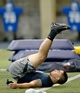 Mar 26, 2013; South Bend, IN, USA; Notre Dame Fighting Irish former player Manti Te'o stretches between drills during Notre Dame pro day at the Loftus Center. Mandatory Credit: Matt Cashore-USA TODAY Sports