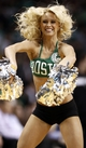 Apr 3, 2013; Boston, MA, USA; A member of the Boston Celtics dance team performs during the fourth quarter of Boston's 98-93 win over the Detroit Pistons in an NBA game at TD Garden. Mandatory Credit: Winslow Townson-USA TODAY Sports