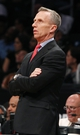 Apr 6, 2013; Brooklyn, NY, USA; Charlotte Bobcats head coach Mike Dunlap in the first quarter against Brooklyn Nets at Barclays Center. Mandatory Credit: Nicole Sweet-USA TODAY Sports