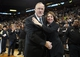 Apr 6, 2013; Minneapolis, MN, USA; Minnesota Timberwolves head coach Rick Adelman and his wife Mary Kay Adelman after getting his 100th career win as a head coach against the Detroit Pistons at Target Center. The Timberwolves won 107-101. Mandatory Credit: Jesse Johnson-USA TODAY Sports