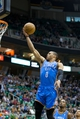 Apr 9, 2013; Salt Lake City, UT, USA; Oklahoma City Thunder point guard Russell Westbrook (0) goes up for a shot during the first quarter against the Utah Jazz at EnergySolutions Arena. Mandatory Credit: Russ Isabella-USA TODAY Sports
