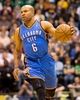 Apr 9, 2013; Salt Lake City, UT, USA; Oklahoma City Thunder point guard Derek Fisher (6) dribbles up court during the first half against the Utah Jazz at EnergySolutions Arena. Mandatory Credit: Russ Isabella-USA TODAY Sports