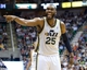 Apr 9, 2013; Salt Lake City, UT, USA; Utah Jazz center Al Jefferson (25) reacts to a call during the second half against the Oklahoma City Thunder at EnergySolutions Arena. The Thunder won 90-80. Mandatory Credit: Russ Isabella-USA TODAY Sports