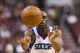 Apr 10, 2013; Philadelphia, PA, USA; Philadelphia 76ers guard Damien Wilkins (8) passes the ball during the third quarter against the Atlanta Hawks at the Wells Fargo Center. The Hawks defeated the Sixers 124-101. Mandatory Credit: Howard Smith-USA TODAY Sports