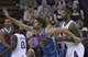 April 10, 2013; Sacramento, CA, USA; New Orleans Hornets center Robin Lopez (15) calls for the ball ahead of Sacramento Kings center DeMarcus Cousins (15) during the second quarter at Sleep Train Arena. Mandatory Credit: Kelley L Cox-USA TODAY Sports