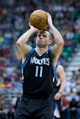 Apr 12, 2013; Salt Lake City, UT, USA; Minnesota Timberwolves point guard J.J. Barea (11) shoots a free throw during the first half against the Utah Jazz at EnergySolutions Arena. Mandatory Credit: Russ Isabella-USA TODAY Sports
