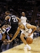 Apr 12, 2013; San Antonio, TX, USA; Sacramento Kings guard Marcus Thornton (23) has the ball stolen by San Antonio Spurs guard Tony Parker (right) during the second half at the AT&T Center. The Spurs won 108-101. Mandatory Credit: Soobum Im-USA TODAY Sports