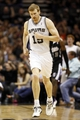 Apr 12, 2013; San Antonio, TX, USA; San Antonio Spurs forward Matt Bonner (15) reacts after a shot against the Sacramento Kings during the second half at the AT&T Center. Mandatory Credit: Soobum Im-USA TODAY Sports