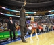 Apr 14, 2013; Philadelphia, PA, USA; Moses Malone of the Philadelphia 76ers 1982-83 NBA Championship team waves to the crowd during their 30th anniversary celebration during halftime of the game between Philadelphia 76ers and Cleveland Cavaliers at the Wells Fargo Center. Mandatory Credit: Eric Hartline-USA TODAY Sports