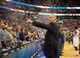 Apr 14, 2013; Philadelphia, PA, USA; Philadelphia 76ers head coach Doug Collins points to the crowd after game against the Cleveland Cavaliers at the Wells Fargo Center. The 76ers defeated the Cavaliers, 91-77. Mandatory Credit: Eric Hartline-USA TODAY Sports