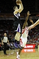 April 14, 2013; Houston, TX, USA; Sacramento Kingspoint guard Jimmer Fredette (7) takes a shot against the Houston Rockets in the fourth quarter at the Toyota Center. The Rockets defeated the Kings 121-100. Mandatory Credit: Brett Davis-USA TODAY Sports