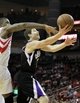 April 14, 2013; Houston, TX, USA; Sacramento Kings point guard Jimmer Fredette (7) takes a shot against the Houston Rockets in the fourth quarter at the Toyota Center. The Rockets defeated the Kings 121-100. Mandatory Credit: Brett Davis-USA TODAY Sports