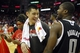 April 14, 2013; Houston, TX, USA; Houston Rockets point guard Jeremy Lin (7) talks to Sacramento Kings point guard Toney Douglas (0) after a game at the Toyota Center. The Rockets defeated the Kings 121-100. Mandatory Credit: Brett Davis-USA TODAY Sports