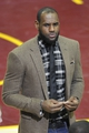 Apr 15, 2013; Cleveland, OH, USA; Miami Heat small forward LeBron James (6) stands on the court during a timeout of a game against the Cleveland Cavaliers at Quicken Loans Arena. Mandatory Credit: David Richard-USA TODAY Sports