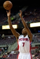 April 15, 2013; Auburn Hills, MI, USA; Detroit Pistons point guard Brandon Knight (7) shoots during the third quarter against the Philadelphia 76ers at The Palace. Detroit won 109-101. Mandatory Credit: Tim Fuller-USA TODAY Sports