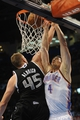Apr 15, 2013; Oklahoma City, OK, USA; Oklahoma City Thunder forward Nick Collison (4) dunks the ball against Sacramento Kings center Cole Aldrick (45) during the first half at Chesapeake Energy Arena. Mandatory Credit: Mark D. Smith-USA TODAY Sports
