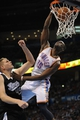 Apr 15, 2013; Oklahoma City, OK, USA; Oklahoma City Thunder guard Reggie Jackson (15) dunks the ball against Sacramento Kings forward Cole Aldrich (45) during the first half at Chesapeake Energy Arena. Mandatory Credit: Mark D. Smith-USA TODAY Sports