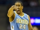 Apr 15, 2013; Milwaukee, WI, USA;  Denver Nuggets guard Andre Miller (24) reacts to a call during the fourth quarter against the Milwaukee Bucks at the BMO Harris Bradley Center.  Denver won 112-111.  Mandatory Credit: Jeff Hanisch-USA TODAY Sports