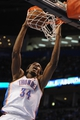 Apr 15, 2013; Oklahoma City, OK, USA; Oklahoma City Thunder center Hasheem Thabeet (34) dunks the ball against the Sacramento Kings during the second half at Chesapeake Energy Arena. Mandatory Credit: Mark D. Smith-USA TODAY Sports