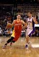 Apr. 15, 2013; Phoenix, AZ, USA: Phoenix Suns guard Goran Dragic (1) defends Houston Rockets guard Jeremy Lin (7) in the first quarter at the US Airways Center. Mandatory Credit: Mark J. Rebilas-USA TODAY Sports