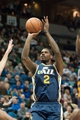 Apr 15, 2013; Minneapolis, MN, USA; Utah Jazz power forward Marvin Williams (2) shoots against the Minnesota Timberwolves in the fourth quarter at Target Center. The Jazz won 96-80. Mandatory Credit:  Greg Smith-USA TODAY Sports