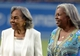 Apr 15, 2013; Los Angeles, CA, USA; Rachel Robinson (left) and Sharon Robinson attend the MLB game between the San Diego Padres and the Los Angeles Dodgers at Dodger Stadium. Rachel Robinson is the wife of the late Jackie Robinson and Sharon Robinson is his daughter. Mandatory Credit: Kirby Lee-USA TODAY Sports