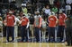 Apr 16, 2013; Atlanta, GA, USA; The Atlanta Hawks observe a moment of silence in memory of the Boston Marathon bombings prior to the game against the Toronto Raptors at Philips Arena. Mandatory Credit: Paul Abell-USA TODAY Sports