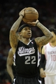 April 14, 2013; Houston, TX, USA; Sacramento Kings point guard Isaiah Thomas (22) shoots a free throw against the Houston Rockets in the third quarter at the Toyota Center. The Rockets defeated the Kings 121-100. Mandatory Credit: Brett Davis-USA TODAY Sports