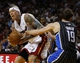 Apr 17, 2013; Miami, FL, USA; Miami Heat power forward Chris Andersen (11) is fouled by Orlando Magic point guard Beno Udrih (19) in the second half at the American Airlines Arena. The Heat won 105-93.  Mandatory Credit: Robert Mayer-USA TODAY Sports