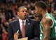 Apr 17, 2013; Toronto, Ontario, CAN; Boston Celtics head coach Doc Rivers speaks to shooting guard Terrence Williams (55) on the court side during the fourth quarter against the Toronto Raptors at the Air Canada Centre. The Raptors beat the Celtics 114-90. Mandatory Credit: Kevin Hoffman-USA TODAY Sports
