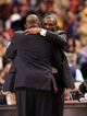 Apr 17, 2013; Toronto, Ontario, CAN; Boston Celtics head coach Doc Rivers (left) hugs Toronto Raptors head coach Dwane Casey after completion of the game between the two teams at the Air Canada Centre. The Raptors beat the Celtics 114-90. Mandatory Credit: Kevin Hoffman-USA TODAY Sports