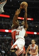 Apr 17, 2013; Chicago, IL, USA; Chicago Bulls small forward Jimmy Butler (21) shoots over a Washington Wizard defender during the second half at the United Center. The Chicago Bulls defeated the Washington Wizards 95-92. Mandatory Credit: David Banks-USA TODAY Sports