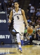 Apr 17, 2013; Memphis, TN, USA;  Memphis Grizzlies power forward Austin Daye (5) brings the ball up court during the game against the Utah Jazz at FedEx Forum.  The Memphis Grizzlies defeated the Utah Jazz 86-70.  Mandatory Credit: Spruce Derden   USA TODAY Sports