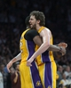 Apr 17, 2013; Los Angeles, CA, USA; Los Angeles Lakers forward Pau Gasol (16) and center Dwight Howard (12) celebrate during the game against the Houston Rockets at the Staples Center. The Lakers defeated the Rockets 99-95 in overtime. Mandatory Credit: Kirby Lee-USA TODAY Sports