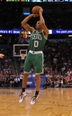 Apr 13, 2013; Orlando, FL, USA; Boston Celtics point guard Avery Bradley (0) against the Orlando Magic during the second quarter at the Amway Center. Mandatory Credit: Kim Klement-USA TODAY Sports