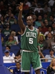 Apr 13, 2013; Orlando, FL, USA; Boston Celtics center Kevin Garnett (5) reacts against the Orlando Magic during the second half at the Amway Center. Boston Celtics defeated the Orlando Magic 120-88. Mandatory Credit: Kim Klement-USA TODAY Sports
