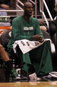 Apr 13, 2013; Orlando, FL, USA; Boston Celtics center Kevin Garnett (5) calls a play from the bench against the Orlando Magic during the second half at the Amway Center. Boston Celtics defeated the Orlando Magic 120-88. Mandatory Credit: Kim Klement-USA TODAY Sports