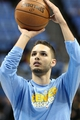 Apr 23, 2013; Denver, CO, USA; Denver Nuggets shooting guard Evan Fournier (94) warms up before the start of the game against the Golden State Warriors in game two in the first round of the 2013 NBA playoffs at the Pepsi Center. Mandatory Credit: Isaiah J. Downing-USA TODAY Sports