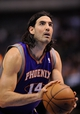 Apr 10, 2013; Dallas, TX, USA; Phoenix Suns power forward Luis Scola (14) attempts a free throw shot during the game against the Dallas Mavericks at the American Airlines Center. The Suns defeated the Mavericks 102-91. Mandatory Credit: Jerome Miron-USA TODAY Sports